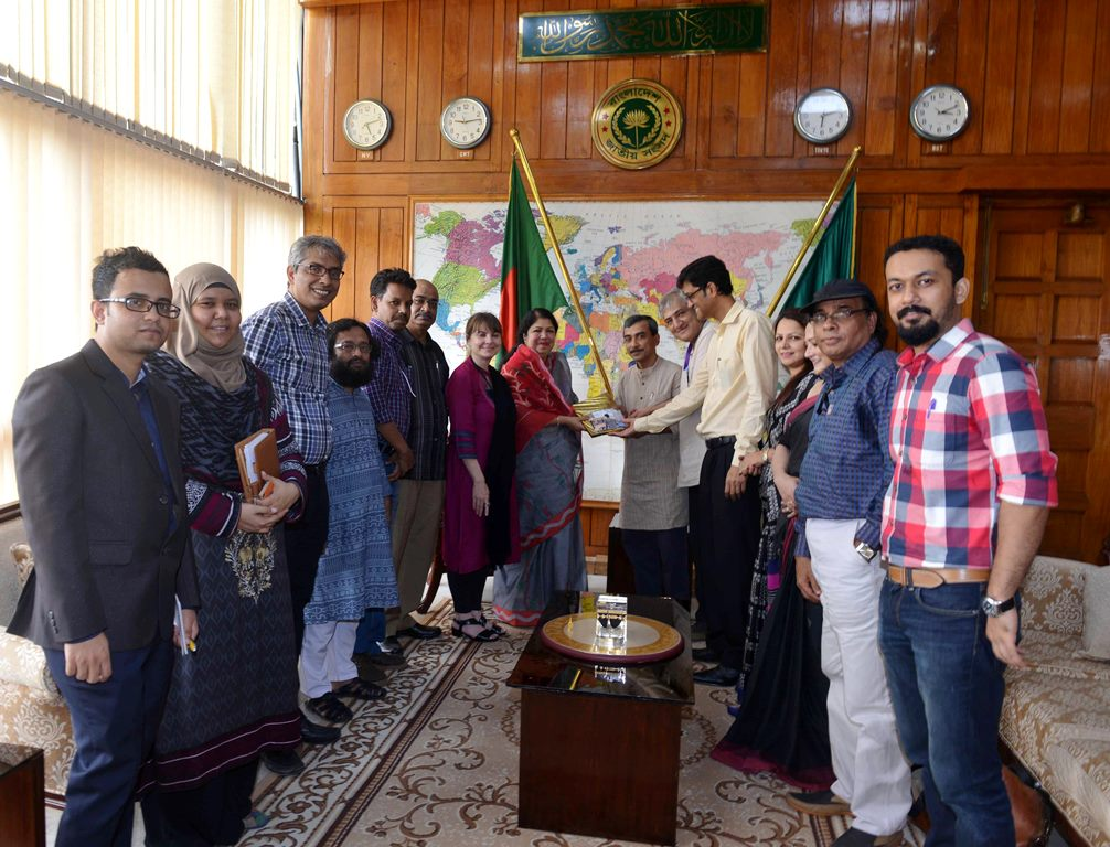 Members of the NCA delegation, led by Dr. Khondokar Ibrahim Khaled, hand over key documents on char development to the Honourable Speaker of the National Parliament, Dr. Shirin Sharmin Chaudhury.